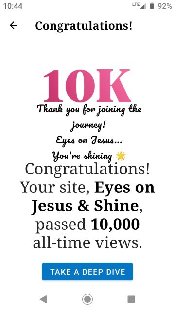 Thank you for joining the journey! Eyes on Jesus... You're shining 🌟